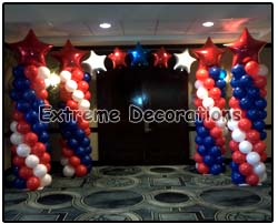 Patriotic 4th july balloon arch red white blue stars