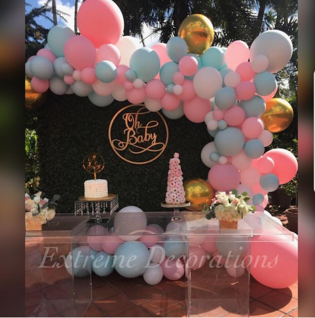 Organic balloon garland arch Gender Reveal