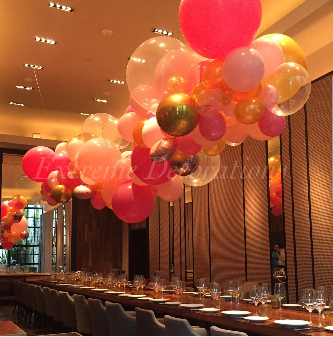 Organic balloon garland for ceiling decor