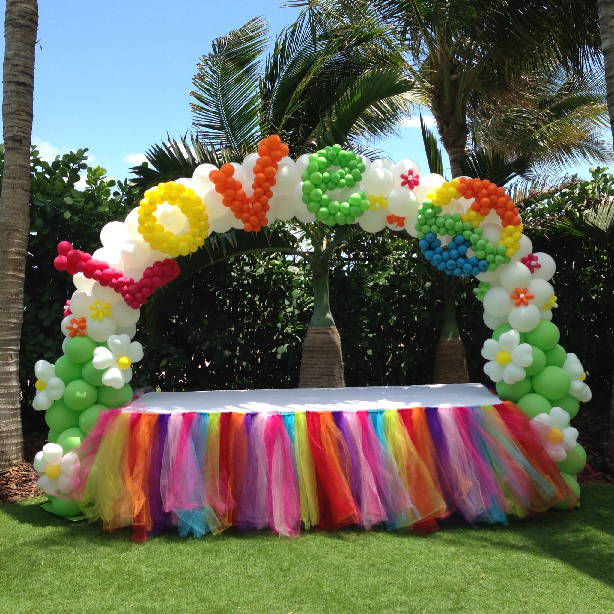 Peace and Love balloon arch