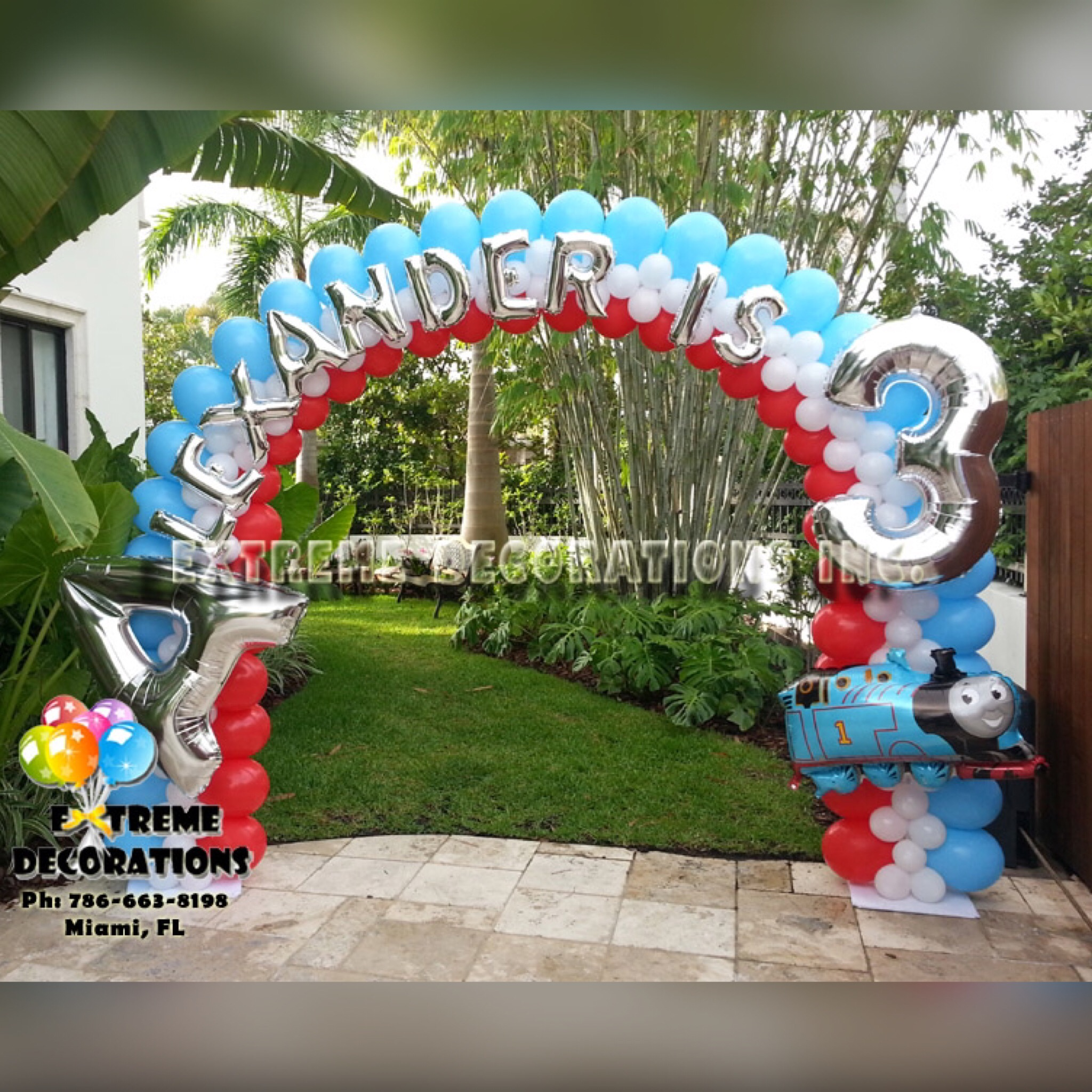 Personalized balloon arch with name theme and age