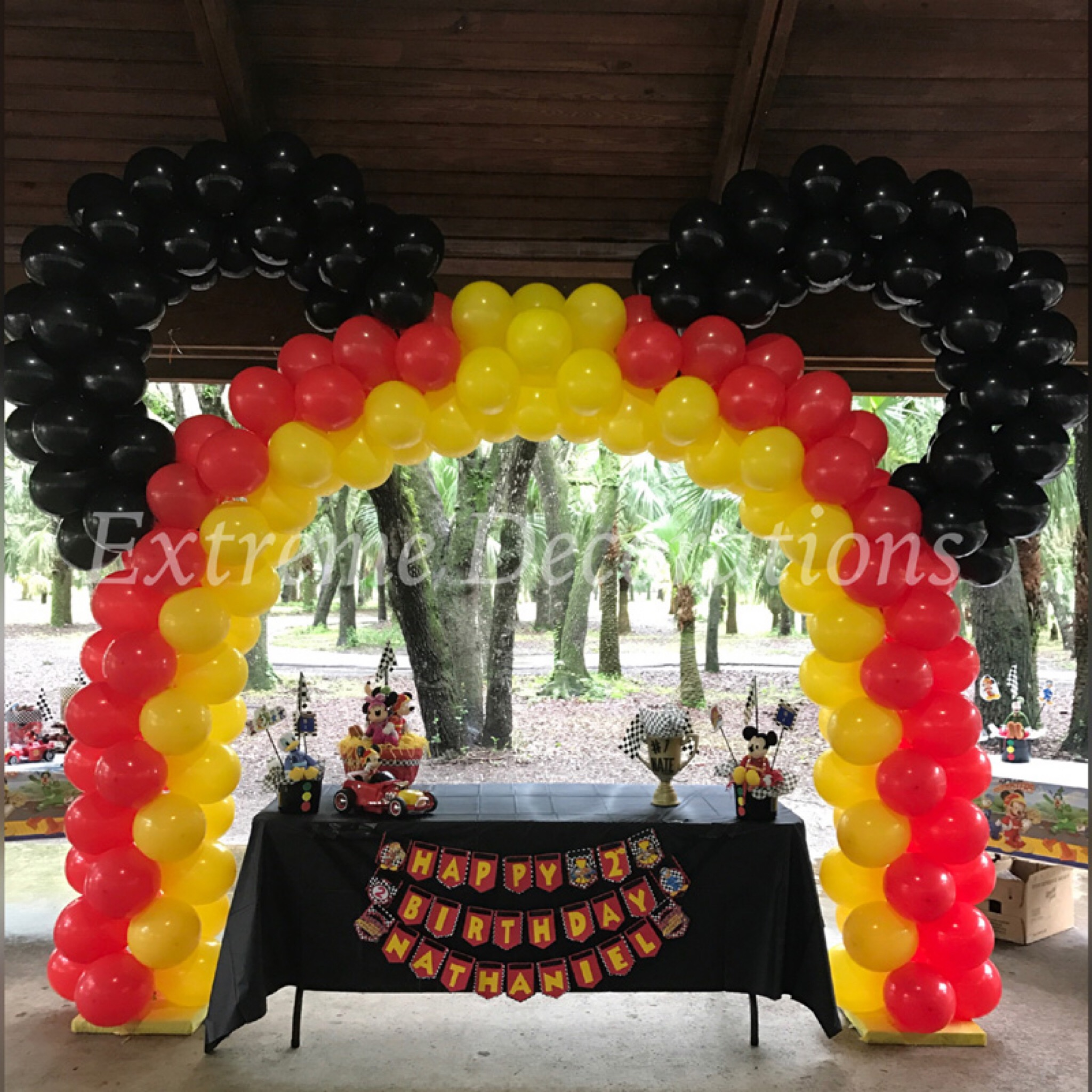 Mickey inspired balloon arch