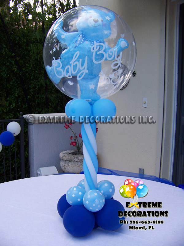 Balloon centerpieces for boy baby shower sorepointrecords for Baby shower balloons decoration