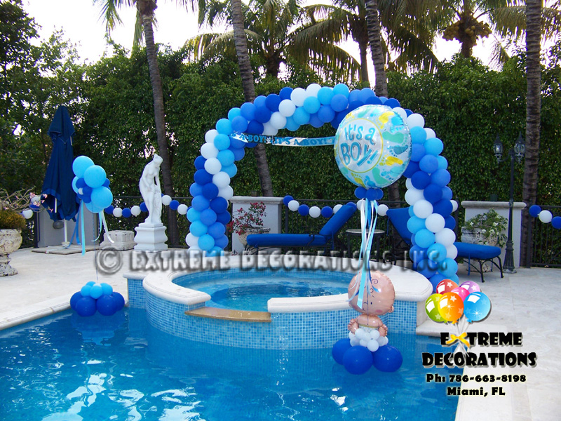 Party decorations miami baby shower balloon decorations for Baby boy decoration
