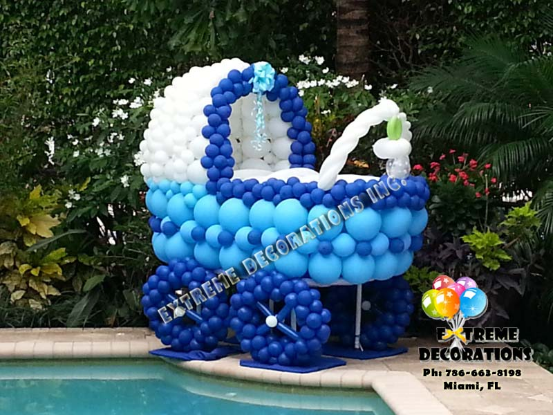 Baby Shower Carriage Balloon Sculpture Miami