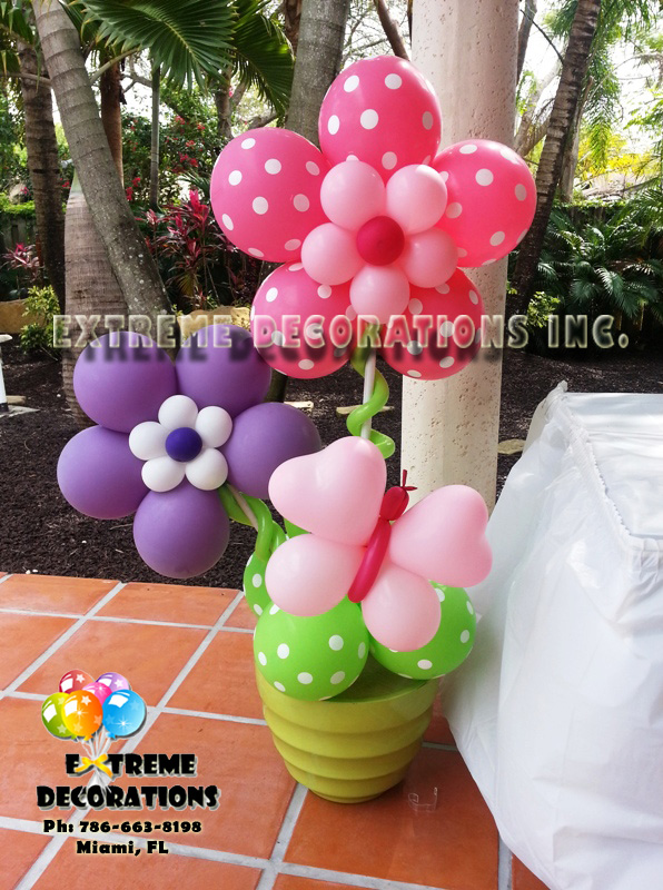 Party decorations miami baby shower balloon decorations for Baby shower flower decoration ideas