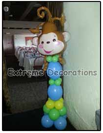 Monkey Baby shower balloon column