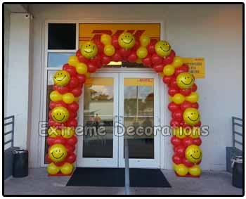 DHL Balloon arch Happy Face Entrance