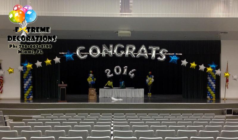 Congrats megalloon balloon arch Miami