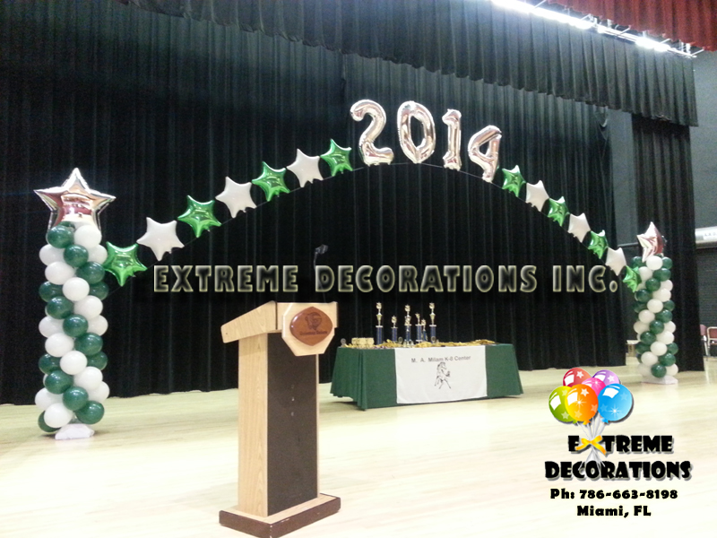 Megaloon Graduation balloon arch stage decor