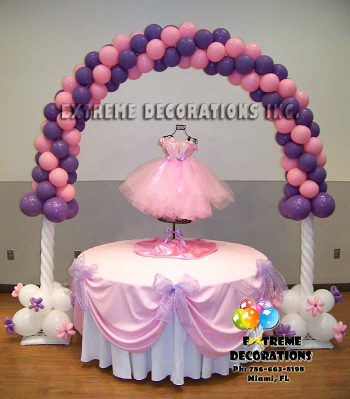 Party decorations miami balloon sculptures for Ballerina party decoration
