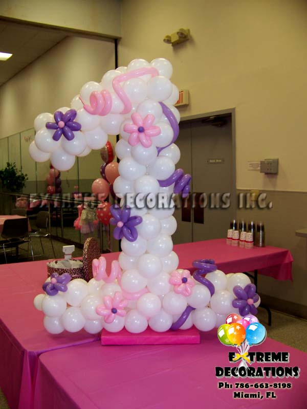 Party decorations miami balloon sculptures for Balloon decoration for 1st birthday party
