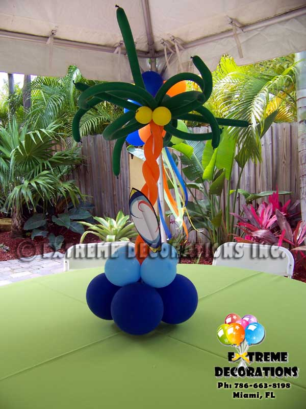 m Tree balloon centerpiece with Surf Board