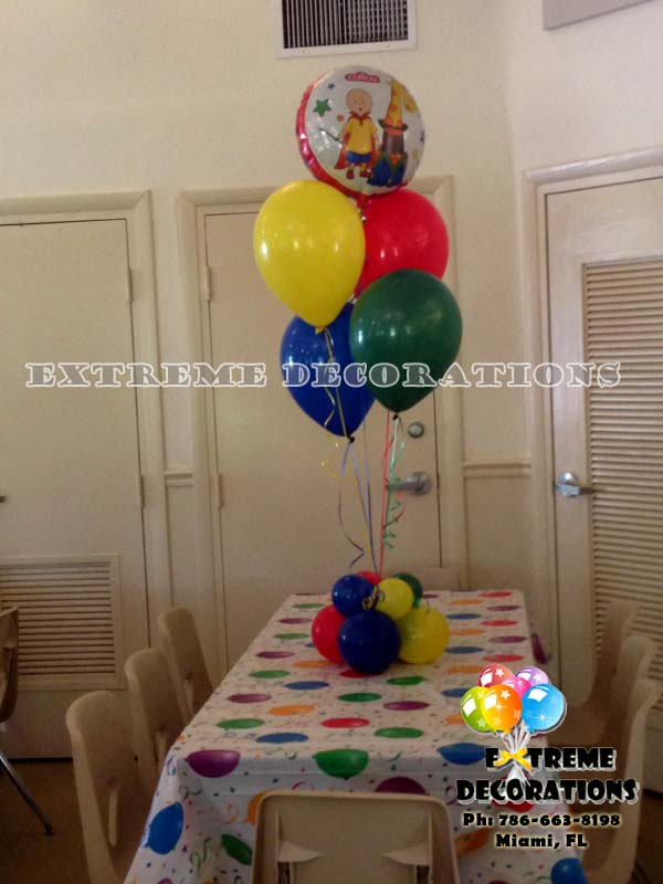 Caillou balloon centerpiece - Caillou party decorations
