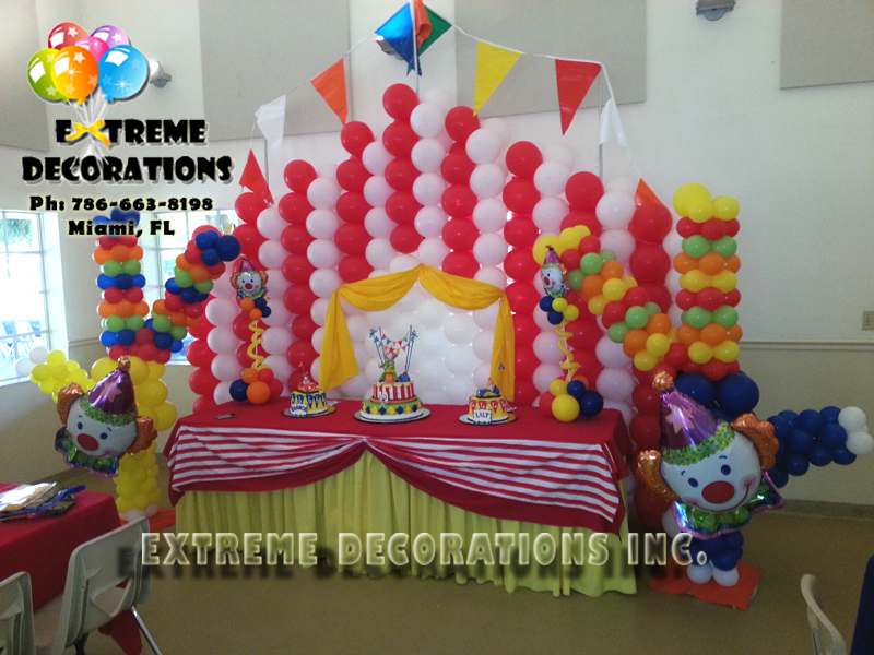 Circus / Clowns balloon Decoration. Circus Tent balloon wall with Clowns balloon sculptures & Party Decorations Miami | Frozen Party Decorations | Balloons