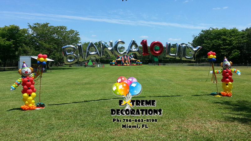 Circus Carnival theme balloon arch personalized - Miami
