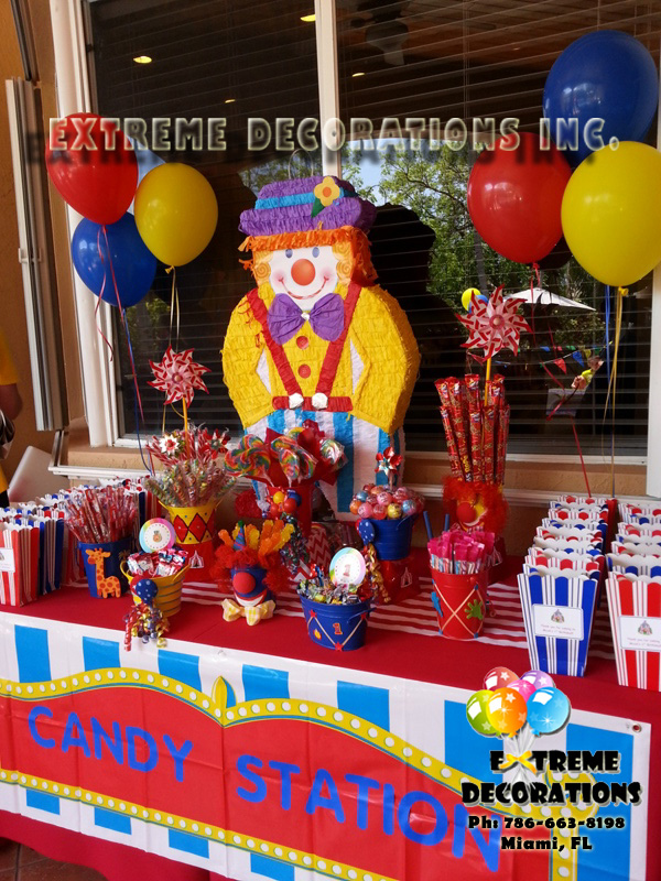 Clown Circus Candy Station Miami Balloon Decorations