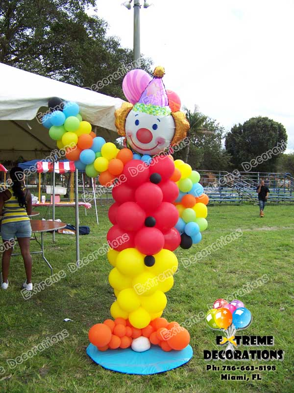 Clown balloon sculpture - Circus Carnival theme Balloon Decorations Miami