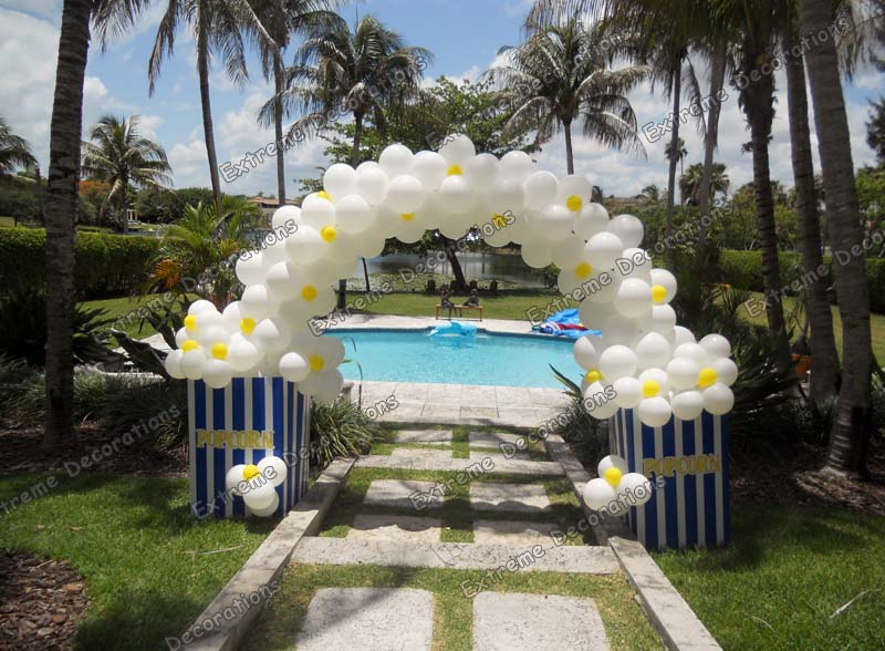 Pop Corn Balloon Arch - Carnival Balloon Decorations Miami