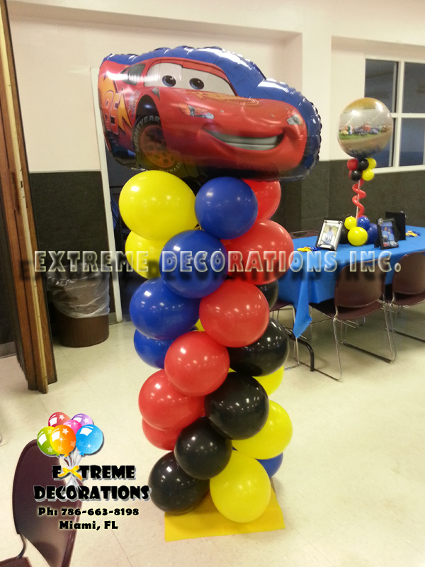 McQueen Cars Balloon Column / Balloon Decoration Miami