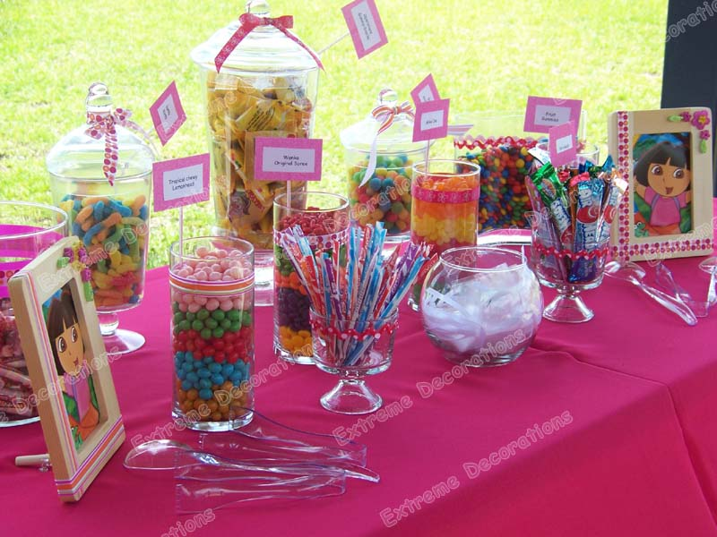 Candy table centerpieces glass apothecary jars with lids set of 3 kitchen canisters bathroom - Candyland party table decorations ...