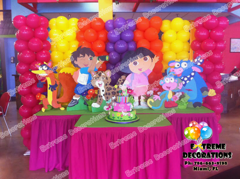 Dora And Diego Cake Table With Balloon Wall Background