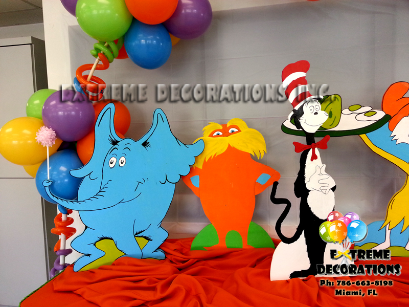 Dr Seuss cake table decoration ideas for kids parties & Party Decorations Miami | Balloon Sculptures