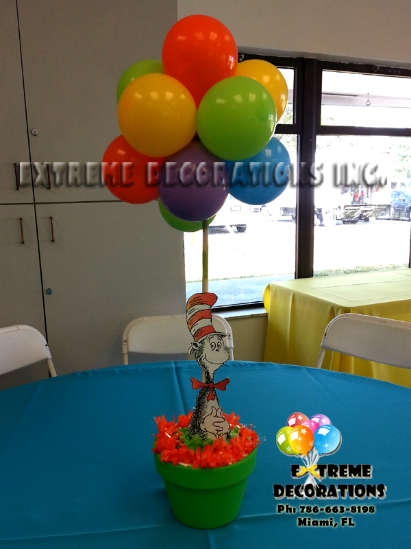 Dr Seuss Cat in the Hat party centerpiece