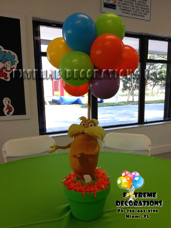 Dr Seuss Lorax party centerpiece