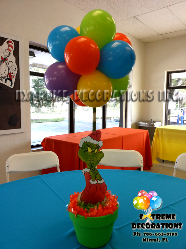 Dr Seuss Grinch party centerpiece