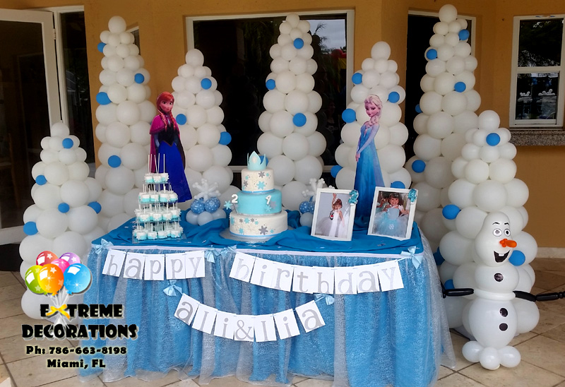 Frozen Themed Party Decoration Ideas Part - 26: For Frozen Parties, We Offer Different Options With Cake Table Decorations.  From The Traditional Balloon Arch, To Balloon Wall Backdrops, Or More  Complex ...