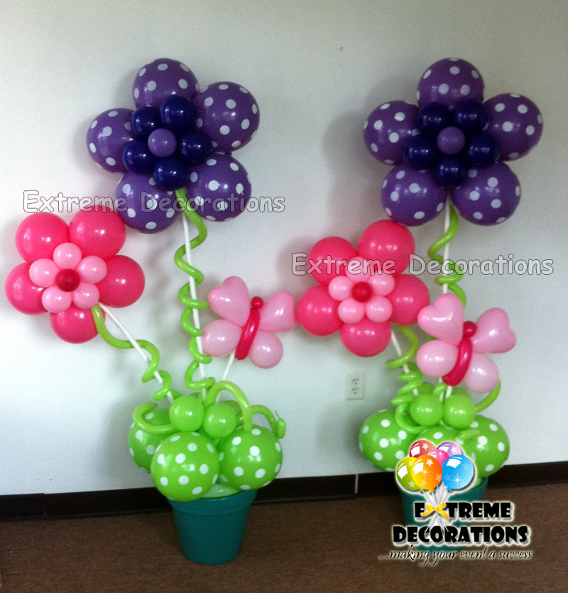 Flower balloon decorations party favors ideas for Balloon decoration making