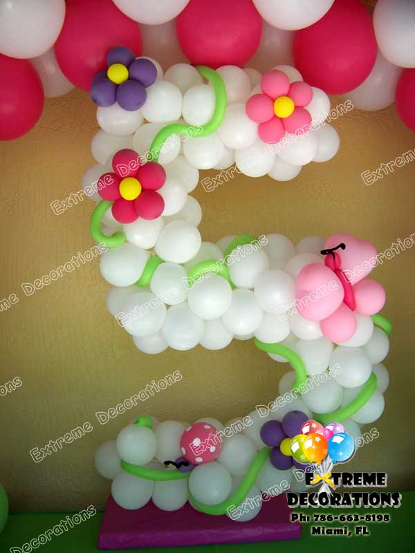Age Balloon Sculpture with flower and butterflies