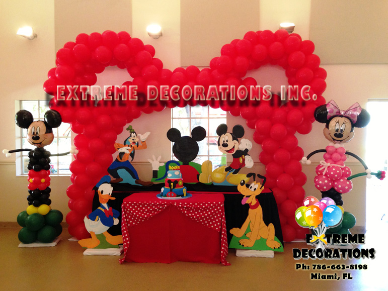 Mickey Clubhouse party decorations - Red Mickey Ears Balloon arch