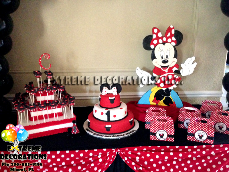 Red Minnie Cake Table Decor With Party Favors