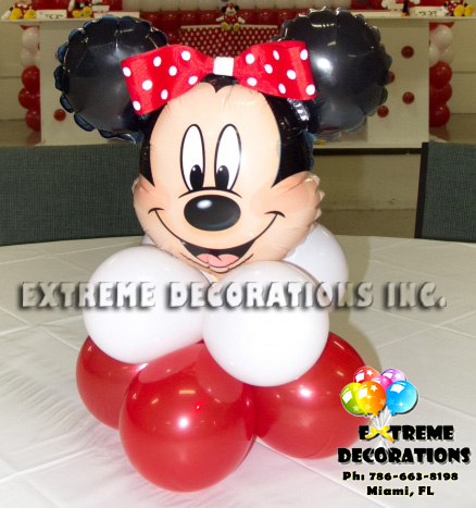 Red Minnie Balloon centerpiece with bow