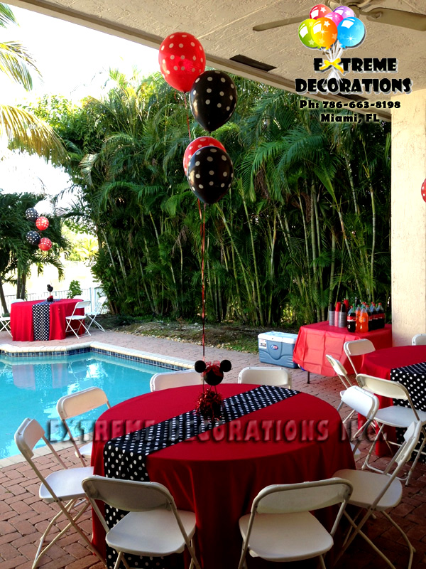 Red minnie party decoration polka dots runner