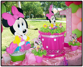 Party decorations miami hello kitty balloon party for Baby minnie mouse party decoration