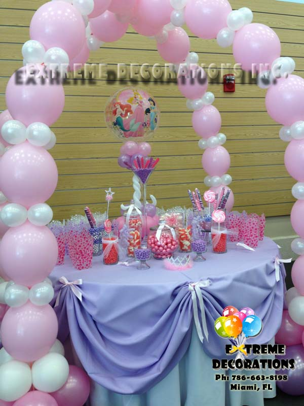 pink Candy table - Candy station, balloon carriage