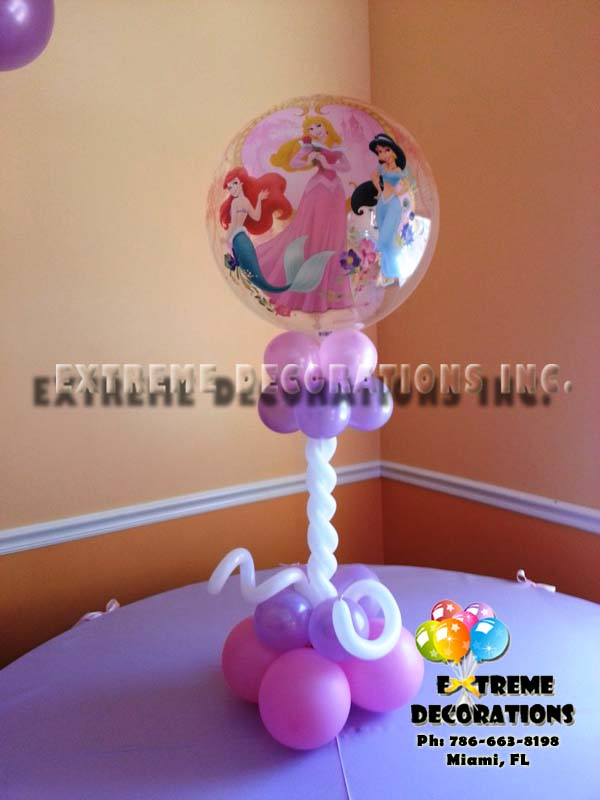 Bubble Princess arrangement with Aurora, Jasmin and Little Mermaid