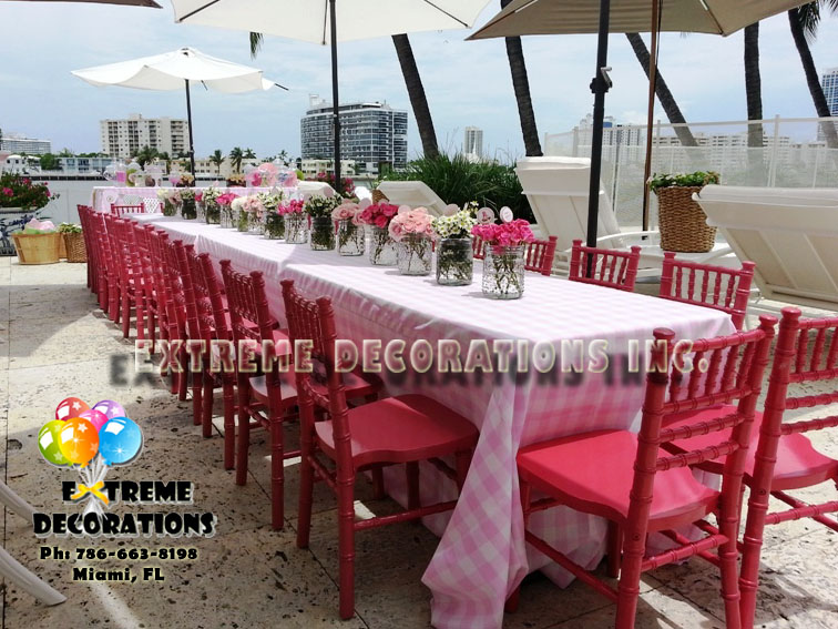 Kids pink chiavari chairs rental