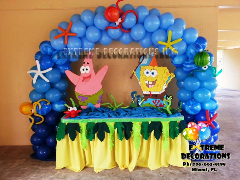 Party decorations miami spongebob for Balloon decoration for kids birthday party