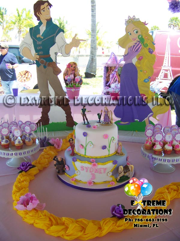 Rapunzel Braid decorated with flowers - cake table decor