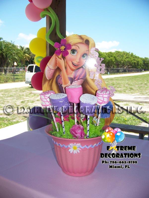 Rapunzel personalized party centerpieces