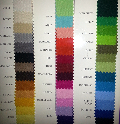 Color Chart solid colors polyester tablecloth