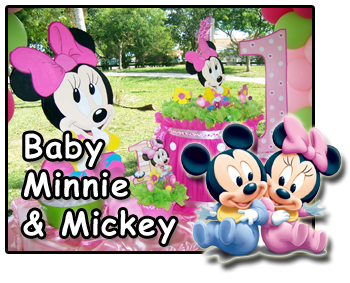 baby Minnie and Mickey first birthday decorations
