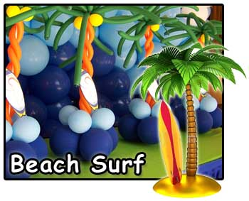 Beach and surf theme party decorations