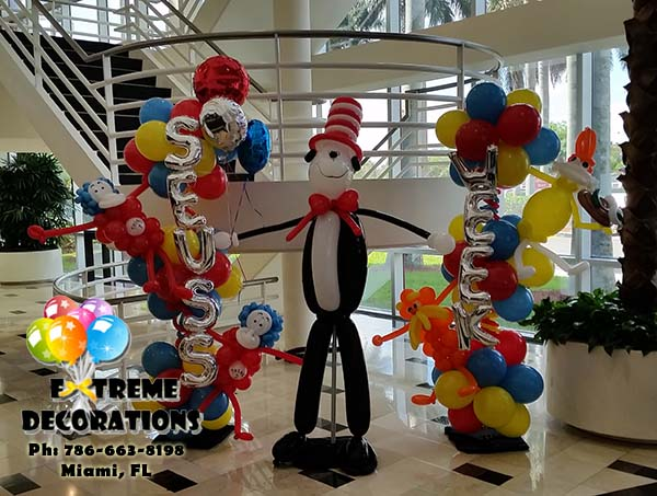 Dr Seuss Cat in the hat - Lorax - THing 1 and 2 - Sam I am balloon decorations