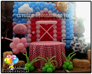 Barn theme balloon wall - party decorations Miami