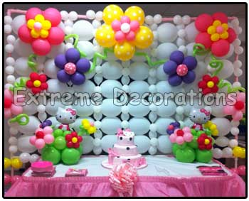 hello kitty cake table decor - Balloon wall